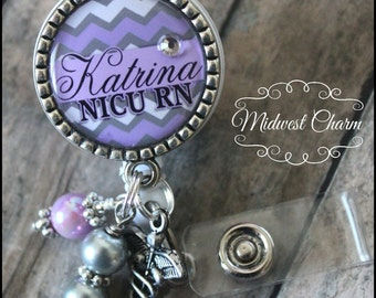 Light purple..Personalized badge reel with antique silver bezel...pinch clip...nurse,.teacher..id holder..cook..educational staff