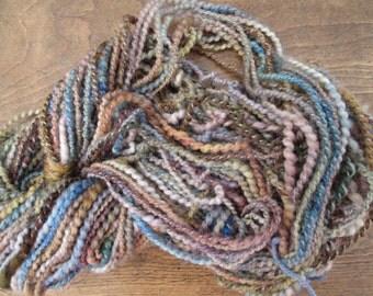 Handspun art yarn ATLANTIC 70 yards free U.S. shipping brown blue green natural