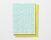 Dot Pattern, in neon pink or neon green, letterpress folded note cards