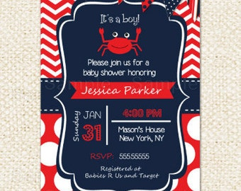 Crab Baby Shower Invitations