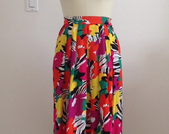 1980s Floral Pleated Skirt by Lloyd Williams