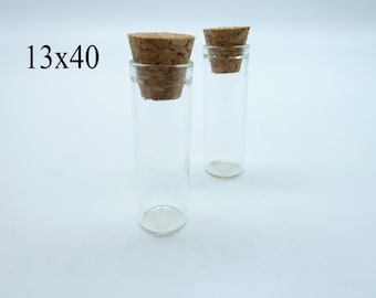 10pcs 13x40x11mm Clear Glass Tiny Wishing Drifting Bottle Vials Pendants With Corks/Free EyeHook Charm Pendant c4451