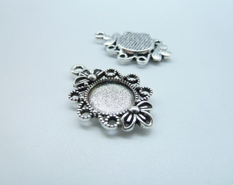 20pcs 12mm GBB Antique Silver Round Flower Cameo Cabochon Base Settings Charm Pendant c7758