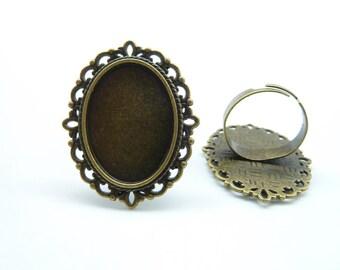 6pcs 18x25mm Antique Bronze Brass Cameo Cabochon Filigree Base Setting Rings C6186
