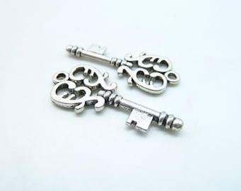15pcs 14x32mm Antique Silver key Charm Pendant  c6699