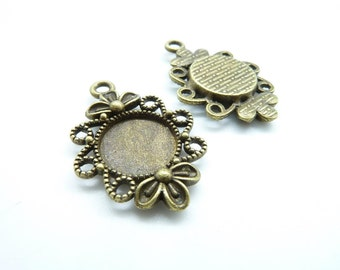 20pcs 12mm GBB Antique Bronze Round Flower Cameo Cabochon Base Settings Charm Pendant c7645