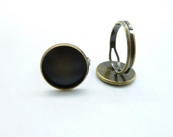 10pcs 14mm Antique Bronze Brass Round Cameo Cabochon Base Setting Rings c5172