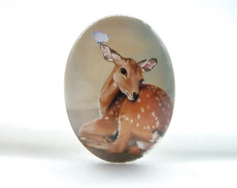 2pcs 30x40mm Handmade Photo Glass Cabochons (Deer )
