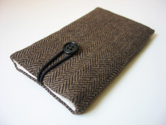 Herringbone iPhone 6 sleeve iPhone 6 cover iPhone 6 case iPhone 6 pouch iPhone6 case tweed dark brown and black wool fabric textile cloth
