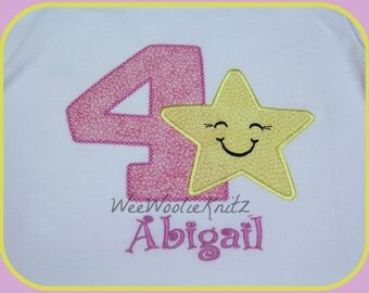 Girls Twinkle Twinkle Little Star Birthday T Shirt or Bib Personalized Applique 1st 2nd 3rd Any Number or Letter