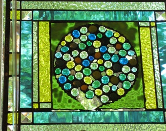 GEMOHOLIC    Stained Glass  Gift for the holidays    blues...yellows.....greens