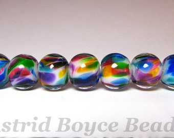 Rainbow Rounds - Artisan Lampwork Lamp Work Glass Bead Set Self Representing Artist SRA B195