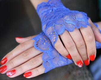 Lace Gloves in Blue , stretch lace, fingerless lace gloves, Bride, bridesmaid, gift for her.  Ready to ship.
