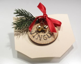 Cute Wooden Pin with Two Jingle Bells - Red Bow - Faux Greenery - Glitter  'Jingle'