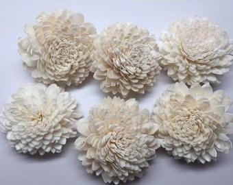 Sola Zinnia Flowers---  Set of 6 Sola Zinnia Flowers-- Wedding balsa flowers
