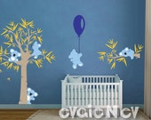 Koala Bears Wall Stickers - Wall Decals for kids room, Tree and Five Little Koala Bears with Balloon -  PLTBRS030