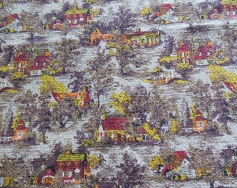 Barkcloth Drape Fabric, Earth Toned Cabin Pattern