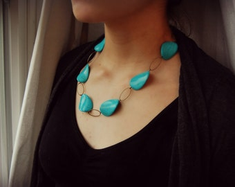 NECKLACE  Chunky Turquoise and ovals statement necklace.