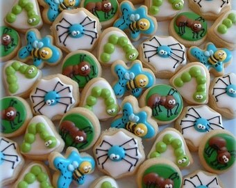 Bug Cookies - 2 or 3 dozen MINI insect cookies - bee cookies - ant cookies - spider cookies - children birthday