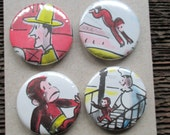 Curious George Upcycled / Recycled Pinback Button Set (4)