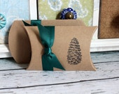Pinecone Pillow Boxes  -  Set of 10  - You choose ribbon color