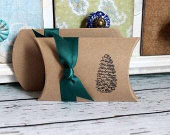 Pinecone Pillow Boxes  -  Set of 10  - You choose ribbon color