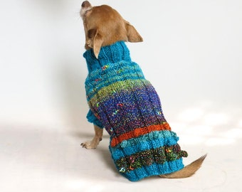 Bobble Butt, Turquooise and Navy, Hand Knit Wool Chihuahua Sweater, size Small