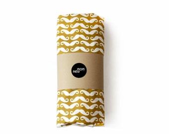 MUSTARD MUSTACHE- crib sheet - baby boy nursery - crib fitted sheet- changing pad cover