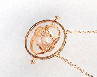 Hourglass Wizard TIME TURNER Necklace - Pendant - GlazedBlackCherry