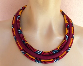 Orange necklace, African jewelry /African fabric necklace