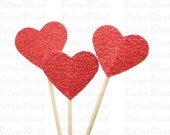 24 Glitter Red Heart Cupcake Toppers, Valentine's Day Party Decorations - No596