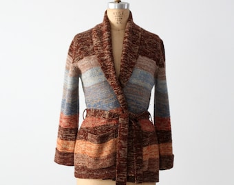 FREE SHIP  1970s wrap cardigan, vintage striped hippie sweater