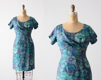 FREE SHIP  1950s watercolor print wiggle dress, vintage blue floral dress