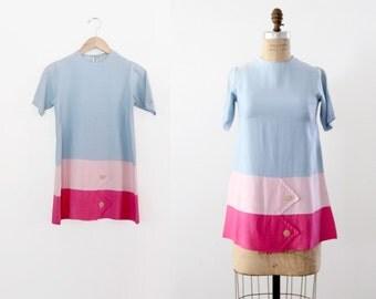 vintage 60s mod top / color block mini dress
