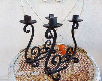 Pair of Vintage two Candles  Hand Wrought Iron Candelabras