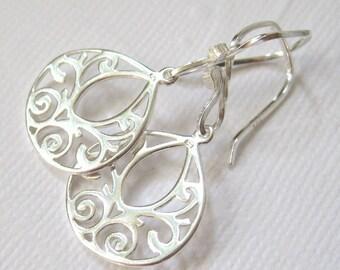 Sterling silver earrings, Filigree teardrop earrings, Dangle earrings, Solid sterling jewelry, Bridesmaid gift, wedding bridal jewelry