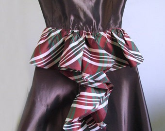"1930s-40s ""TEEN COLONY"" brown taffeta dress with plaid ruffle / bustle / TV/ Stage/ Film / costume"