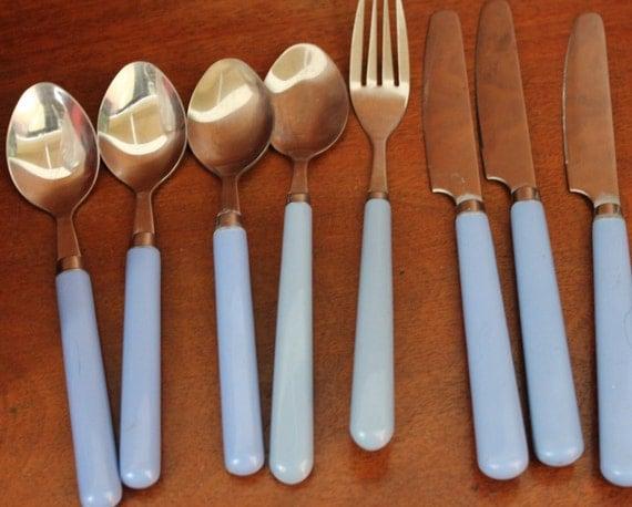 Blue Plastic Handle Silverware Flatware Vintage By