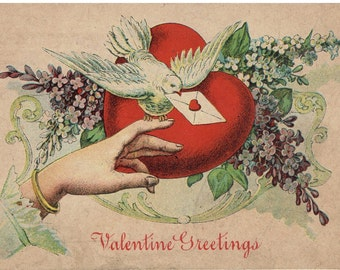 Valentine Greetings Antique Postcards Lady's Hand with Dove and Flowers Valentine's Day
