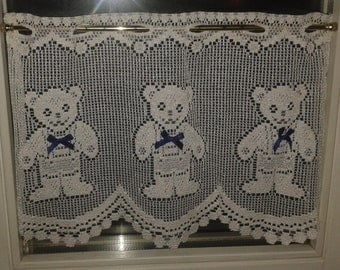 Smiling Teddy Bear with Blue Bow café curtains