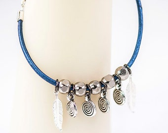 Blue Leather Bracelet with Metal Beads