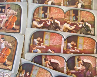 Antique Stereoview Cards Slapstick Comedy Skits Series RARE 3D Stereograph Photos 1906 Magician Humor Funny Stereoview Card Series