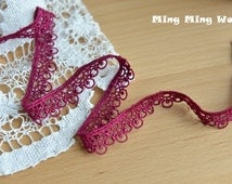 Venice Lace Trim,Purple Lace,Dentelle Lace Trim for Costume Desige,headband 0.59 inches 3 yards  (L311)