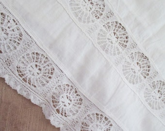 Antique Victorian Toddler Childs Dress White Spanish Saba Lace Drawn Thread Work C90