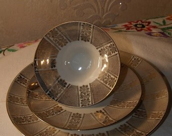 Bareuther Waldsassen Gold Demitasse set w/ Dessert Plate
