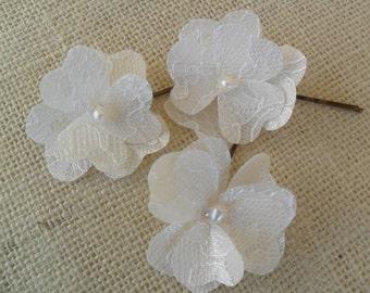 Bridal Hair Pin, Wedding Hair Accessory, Rustic Hair Pin, Lace Hair Accessory, Bridal Hair Flower, Lace Hair Flower, Vintage style Hairpiece