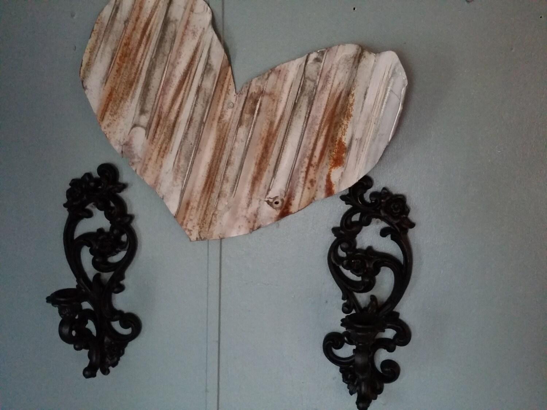 Vintage homco ornate candle holder flat black distressed gold for Flat candle holders