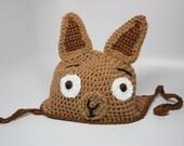 Crochet Llama Hat / Alpaca Hat / Brown Tan Llama Hat / Kawaii Hat / Animal Hat /Earflap Llama Beanie All Sizes Newborn Baby Kids Adult