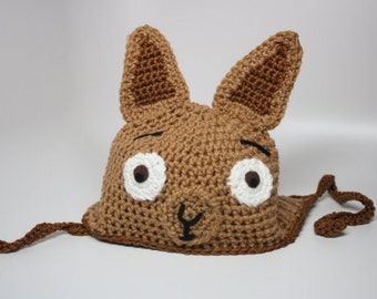 Crochet Llama Hat / Alpaca Hat / Brown Tan Llama Hat / Kawaii Hat / Animal Hat /Earflap Llama Beanie All Sizes Newborn Baby Kids Adult