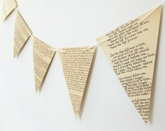 Paper Bunting, recycled Book Garland, Wedding banner, eco-friendly bunting, Rustic wedding decor, Wedding Pennants